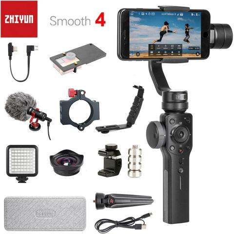 Zhiyun smooth 4 estabilizador para iphone xs xr x 8plus 8 7p 7 6s & samsung s9 s8 s7
