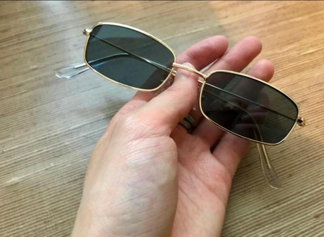 6fead0a83 Óculos De Sol Vintage Fino Retangular Retro Hype + Brinde ...