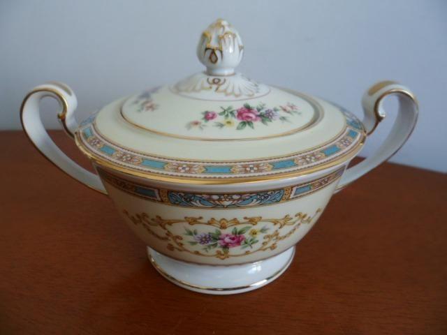 Açucareiro (Sugar Bowl & Lid) em Porcelana Chinesa Noritake 5032 Colby Blue - Foto 5