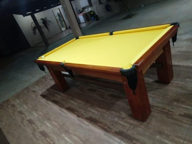 Mesa Madeira Semi Oficial Cor Imbuia Tecido Amarelo Mod. WULY1422 - Foto 2
