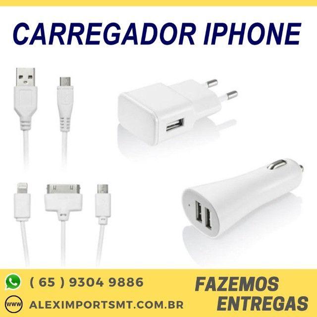 Carregador Celular + Carregado Energia + 1 Cabo Micro Usb para Iphone Veicular