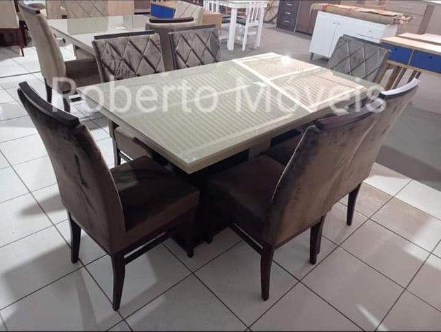 Mesa de Vidro 6 Cadeiras Retangular Nova