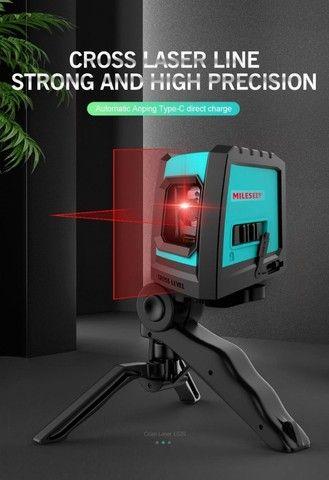 Nível A Laser Vermelho Com Bateria Recarregável + Tripé Bolsa - Foto 3