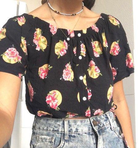 Blusa ciganinha florida