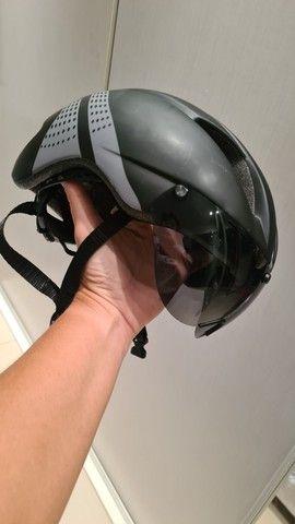Capacete com lente magnética ciclismo