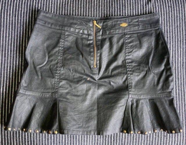 Saia jeans Resinada preta 38/M - Foto 2