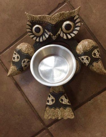 Petisqueira coruja madeira prato inox - Foto 4