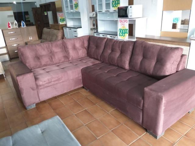 Sofa de canto super espaçoso 2.60x2.00 puff incluso/ 1299 nos cartoes - Foto 2