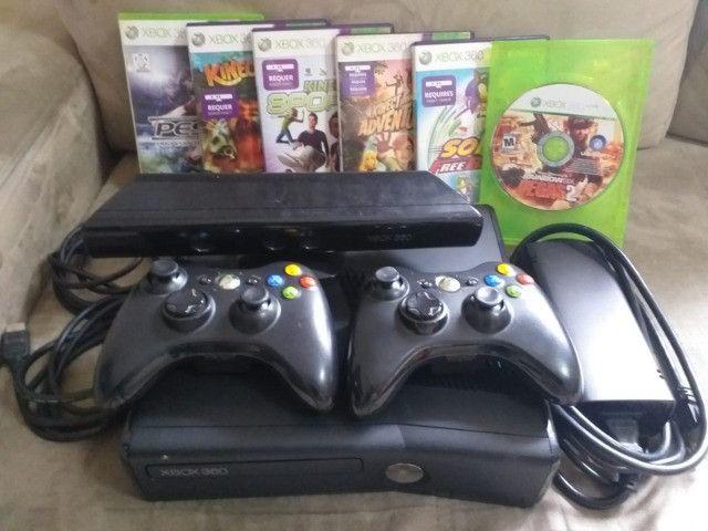 Xbox 360 Bloqueado/Travado + Kinect + 2 Controles + 6 Jogos