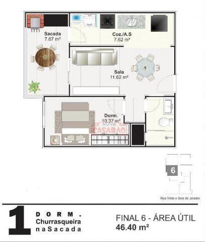 Apartamento com 01 dormitório na Vila Mirim, Praia Grande - Foto 8