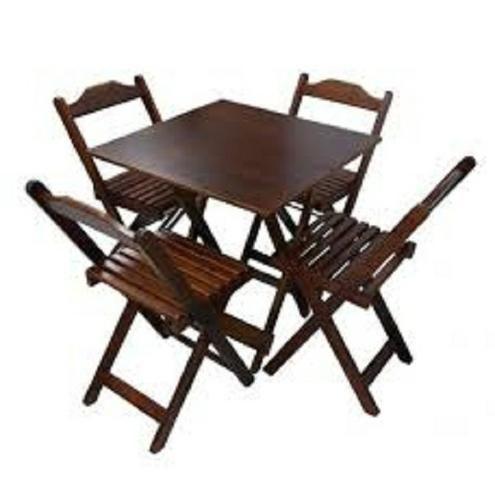 Grande Liquidação - Mesa e Cadeiras Dobráveis de Madeira - Linha Especial