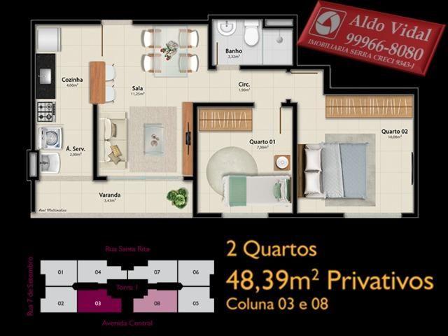 AVR 25- Apto 2Q com Varanda, sala, banheiro social e suíte, cozinha e área de serviço - Foto 4