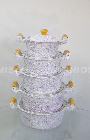 Jogo de panelas de aluminio batido com pintura eletrostática  - Foto 4