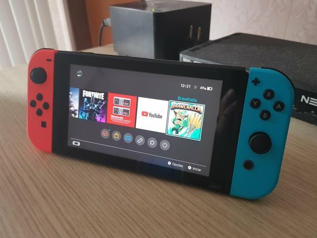 Nintendo Switch Neon - Completo - Desbloqueável