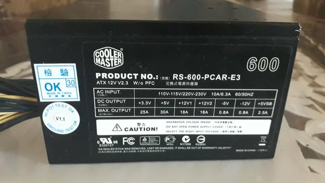 Fonte Cooler Master Plus 600 W