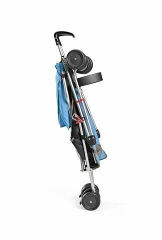 Carrinho de bebê, guarda chuva pocket azul e preto - Foto 2