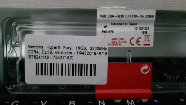 Memória Hyperx Fury 16gb 3200mhz Ddr4 Vermelho - HX432C18FR/16 - Foto 2