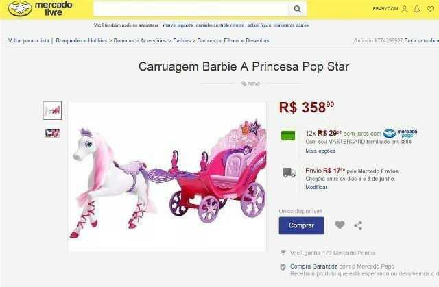 Barbie A Princesa E A Pop Star Carruagem Mattel Artigos