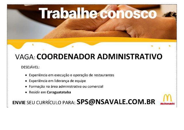 Coordenador Administrativo com experiência