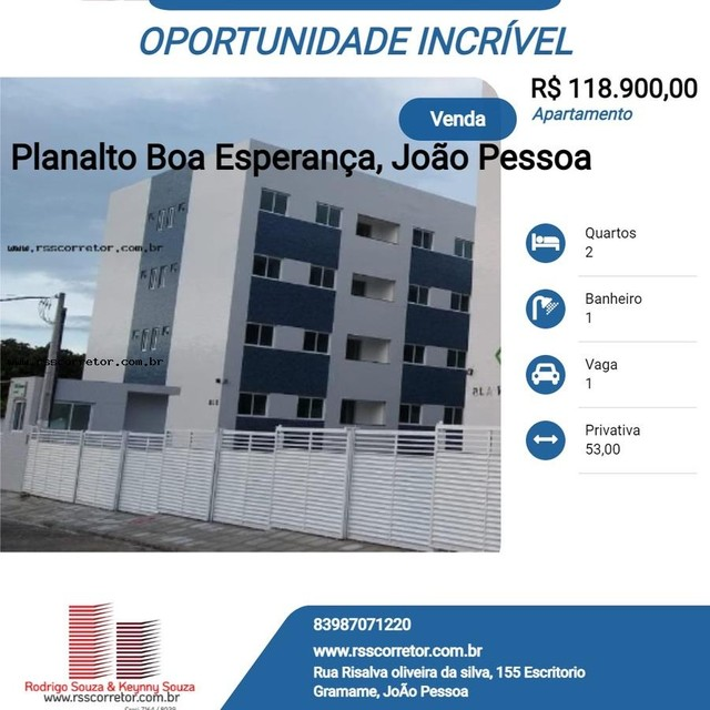 Apartamento para Venda em João Pessoa, Planalto Boa Esperança, 2 dormitórios, 1 banheiro,