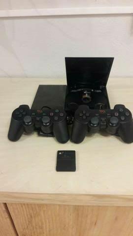 *)Playstation 2 com 2 Controles + 3 Jogos Ps2