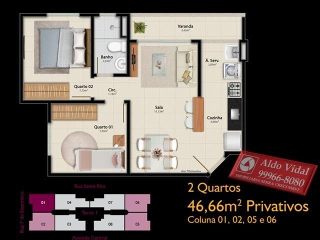 AVR 25- Apto 2Q com Varanda, sala, banheiro social e suíte, cozinha e área de serviço - Foto 6