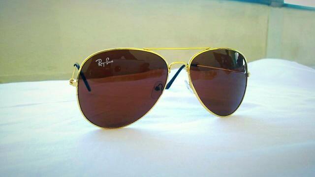 b4a000eeecb2d Óculos De Sol Ray Ban Aviador Dourado Marrom, Novo - Bijouterias ...