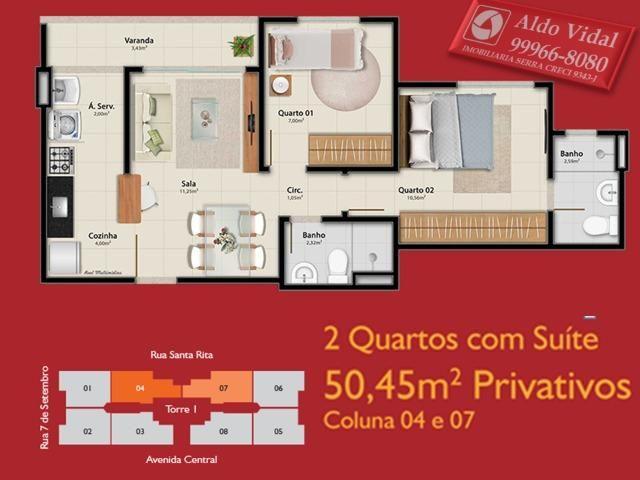 AVR 25- Apto 2Q com Varanda, sala, banheiro social e suíte, cozinha e área de serviço