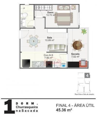 Apartamento com 01 dormitório na Vila Mirim, Praia Grande - Foto 6