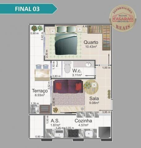 Apartamento com 1 dormitório à venda, 42 m² por R$ 212.150,00 - Balneário Flórida - Foto 8