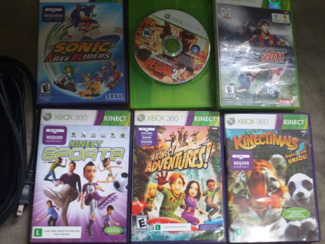 Xbox 360 Bloqueado/Travado + Kinect + 2 Controles + 6 Jogos - Foto 5