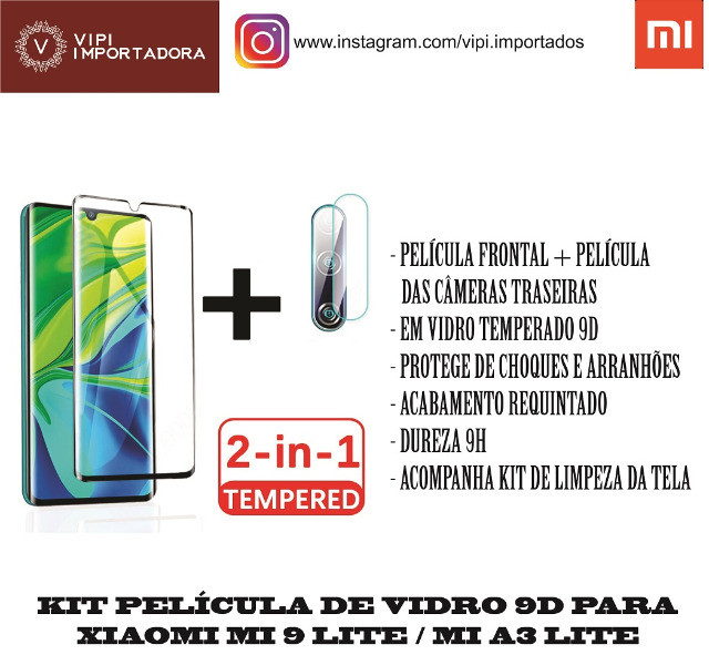 Kit Película 9D Vidro Temperado para Xiaomi Mi 9 Lite / Mi A3 Lite - Foto 5