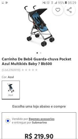 Carrinho de bebê, guarda chuva pocket azul e preto