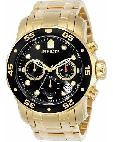 Relógio Masculino Invicta 0072 Dourado Scuba Movimento Suíço