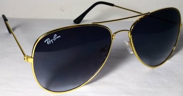 Óculos De Sol Ray Ban Aviador Dourado Preto, Novo - Bijouterias ... 0ba8414593