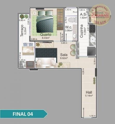 Apartamento com 1 dormitório à venda, 42 m² por R$ 212.150,00 - Balneário Flórida - Foto 4