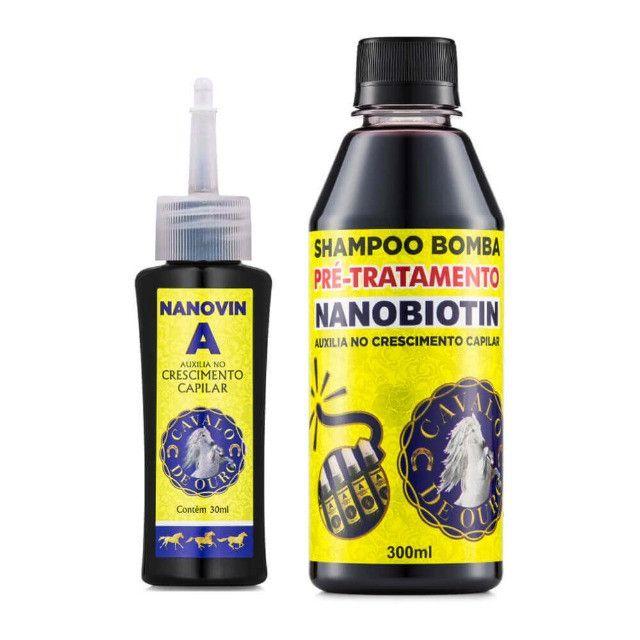 Cresce cabelo Nanovin A Kit Cavalo de Ouro Shampoo e Toniico