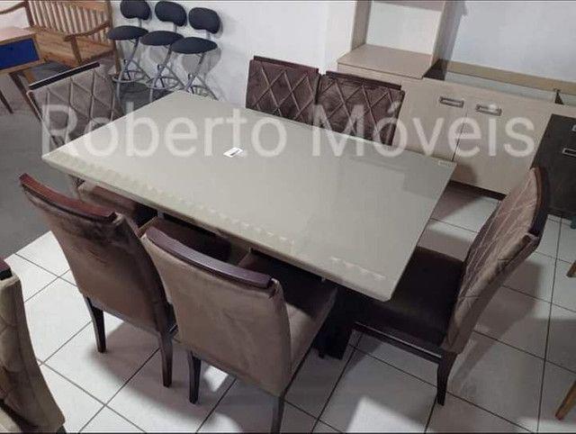 Mesa de Vidro 6 Cadeiras Retangular Nova - Foto 3