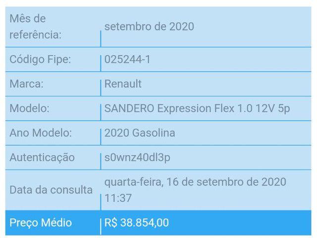 Sandero Expression 1.0 2020 Branco - Foto 8