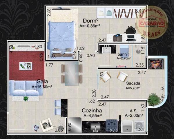 Apartamento com 1 dormitório à venda, 46 m² por R$ 232.000 - Vila Caiçara - Praia Grande - Foto 11
