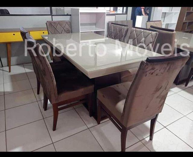 Mesa de Vidro 6 Cadeiras Retangular Nova - Foto 2