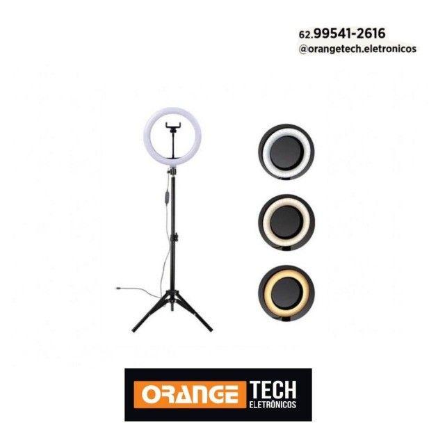 Ring Light Tripé Iluminador Led 26cm + Tripé 210cm + Suporte Celular