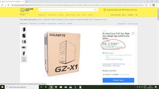 Pc Gamer Intel i3 9ª Geração 16gb Ram Ssd 240Gb Por Tempo Limitado. - Foto 3