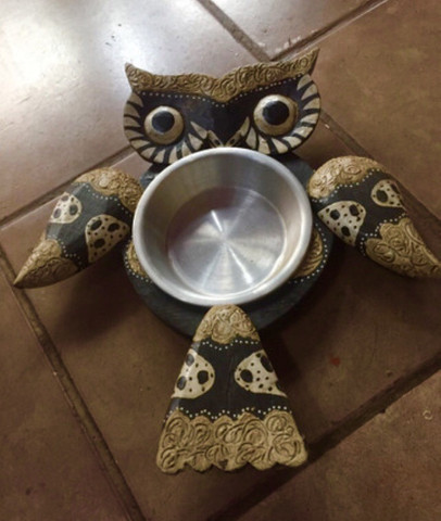 Petisqueira coruja madeira prato inox - Foto 5