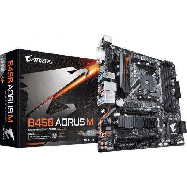 Placa Mãe Gamer AMD Gigabyte B450 Aorus M RGB - NOVA - Loja Física