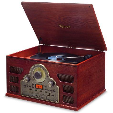 Toca-discos Vitrola Raveo Tenor de madeira vintage c/ mp3 usb vinil - Bluetooth nfc