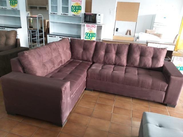 Sofa de canto super espaçoso 2.60x2.00 puff incluso/ 1299 nos cartoes