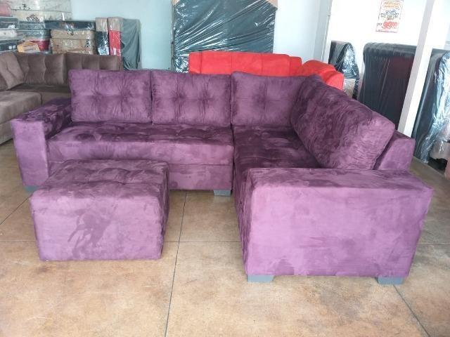 Sofa de canto super espaçoso 2.60x2.00 puff incluso/ 1299 nos cartoes - Foto 4