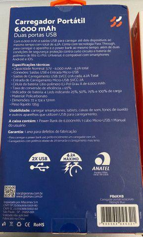 Carregador Portátil / Bateria 2 Cargas Original , Lacrada , Anatel - Foto 6