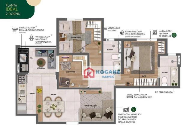 Apartamento com 2 dormitórios à venda, 65 m² por R$ 331.980 - Parque Industrial - São José - Foto 4